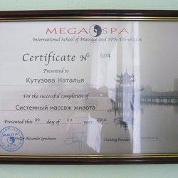 Сертификат— Системный массаж живота
